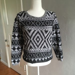 Lucky Brand | Patterned Cotton Sweater Black White